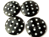 B13103 23mm Black and White Polka Dot Glossy 2 Hole Button