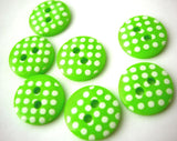 B13139 12mm Lime Green and White Polka Dot Glossy 2 Hole Button