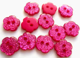 B13560 10mm Cerise Pink Glittery Flower Shape 2 Hole Button