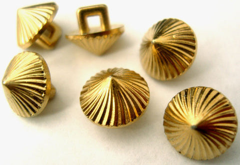 B1395 11mm Gilded Gold Poly Shank Button, Rising to a Centre Point - Ribbonmoon