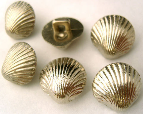 B1400 15mm Gilded Silver Poly Shell Shape Shank Button - Ribbonmoon