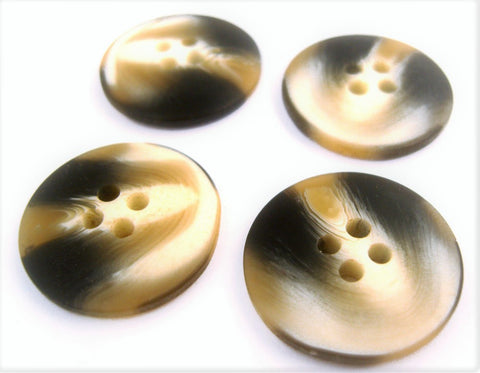 B14127 21mm Black,Natural and Brown Bone Sheen 4 Hole Button