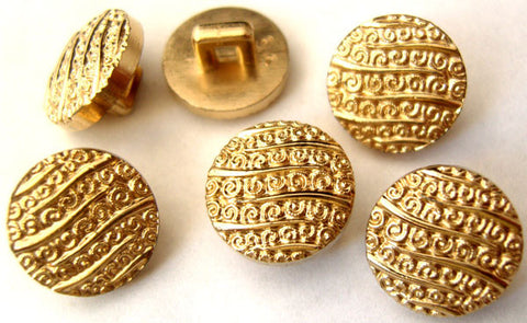 B1432 13mm Gilded Pale Gold Textured Shank Button - Ribbonmoon