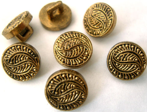 B1442 11mm Gilded Anti Brass Poly Textured Shank Button - Ribbonmoon