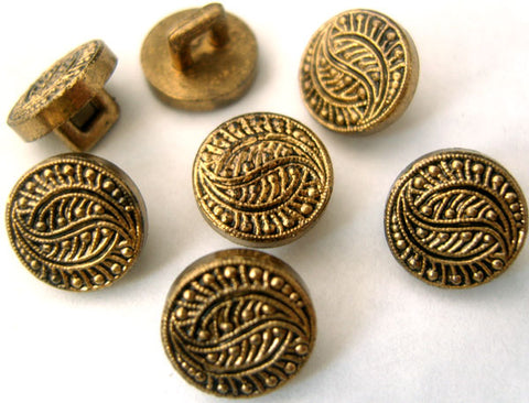 B1442C 11mm Anti Brass Gilded Poly Textured Shank Button