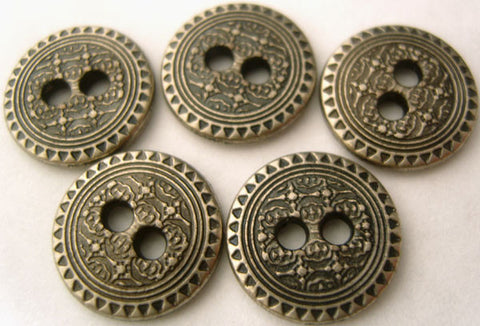 B1447 15mm Antique Gun Metal Textured Alloy 2 Hole Button - Ribbonmoon