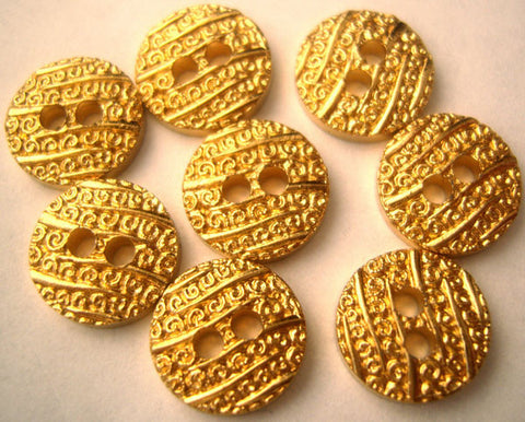 B1457 11mm Gilded Gold Poly 2 Hole Button - Ribbonmoon