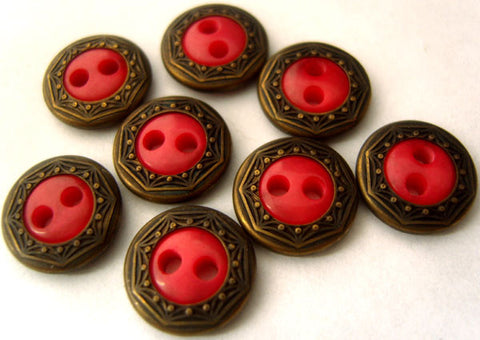 B1459 12mm Geranium Red Two Hole Button with a Brass Metal Rim - Ribbonmoon