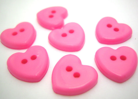 B14906 14mm Pink Glossy Love Heart Shaped 2 Hole Button