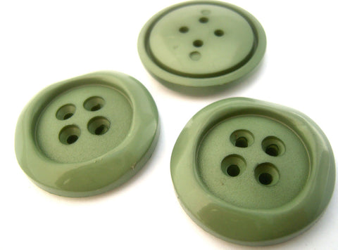 B14956 32mm Khaki Sage Green Chunky Nylon 4 Hole Button