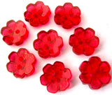 B15301 13mm Cardinal Red Clear Flower Shaped 2 Hole Button - Ribbonmoon