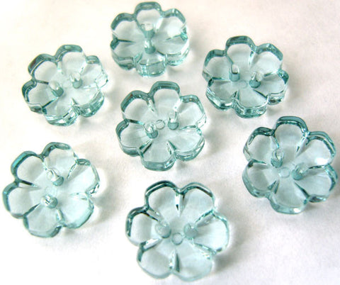B15315 13mm Kingfisher Blue Clear Flower Shaped 2 Hole Button - Ribbonmoon