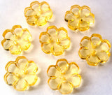 B15323 13mm Yellow Clear Flower Shaped 2 Hole Button - Ribbonmoon