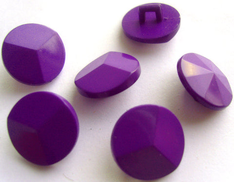 B15549 15mm Purple Gloss Shank Button, Rising to a Centre Point