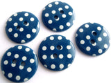 B15609 18mm Dark Blue and White Polka Dot Glossy 2 Hole Button