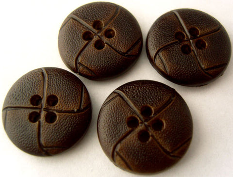 B1591 18mm Dark Brown Leather Effect 4 Hole Button - Ribbonmoon