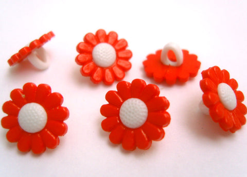 B16395 13mm Orange and White Daisy Flower Design Shank Button