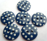 B16440 15mm Dark Blue and White Polka Dot Glossy 2 Hole Button - Ribbonmoon