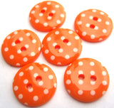 B16476 15mm Orange and White Polka Dot Glossy 2 Hole Button - Ribbonmoon