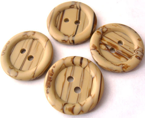 B1747 20mm Beige and Brown Soft Sheen 2 Hole Button - Ribbonmoon