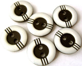B11410 12mm Black and White Gloss 2 Hole Button