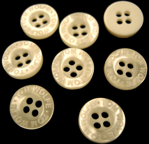 B2092C 11mm Pearlised Bridal White Buttons with Lettering on the Rim - Ribbonmoon