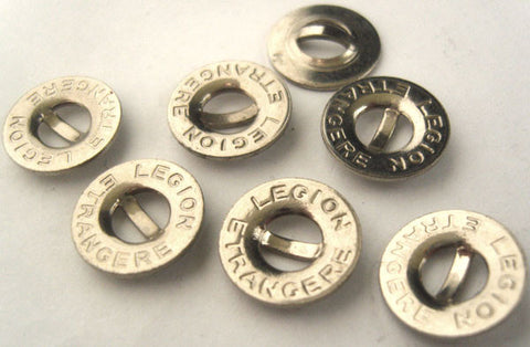 B2153 14mm Silver Metal Alloy Bar Button with a Lettered Rim - Ribbonmoon