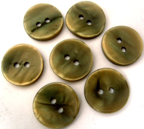 B2345 15mm Green Grey Pearlised Surface and Iridescent 2 Hole Button - Ribbonmoon