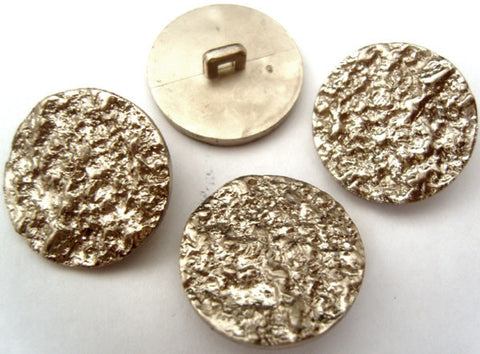 B2467C 23mm Silver Gilded Poly Molten Metal Effect Shank Buttons - Ribbonmoon