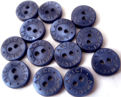 B2628 9mm Dark Royal Blue Pearlised Surface 2 Hole Button, Lettered Rim - Ribbonmoon
