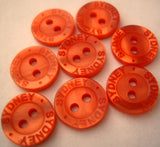 B2632C 13mm Burnt Orange Pearlised 2 Hole Button with Lettered Rim - Ribbonmoon