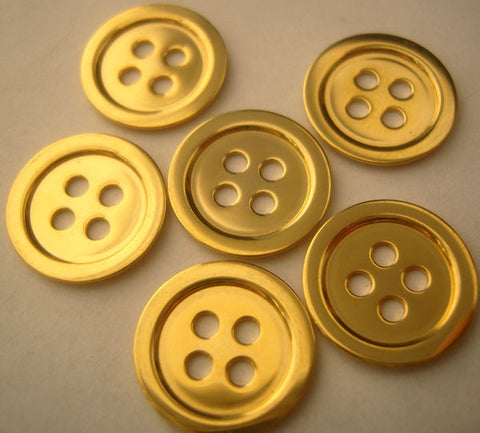 B2652 14mm Gold Plated Metal 4 Hole Button - Ribbonmoon