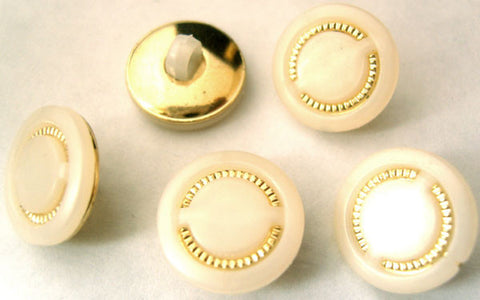 B2729 15mm Pearl White and Gilded Gold Poly Shank Button - Ribbonmoon