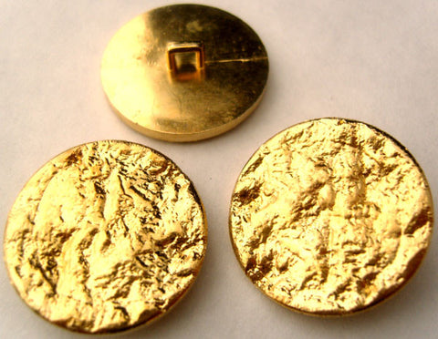 B2854 28mm Gilded Gold Poly Textured Shank Button - Ribbonmoon