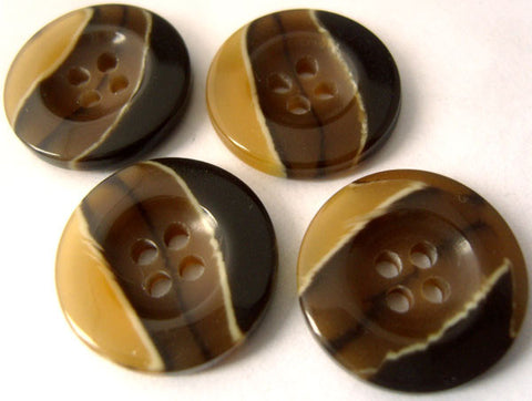 B3111 20mm Browns and Natural Gloss 4 Hole Button - Ribbonmoon