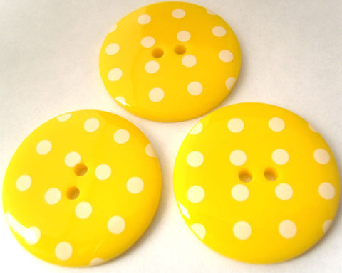 B3186 34mm Yellow Glossy Polka Dot 2 Hole Button - Ribbonmoon