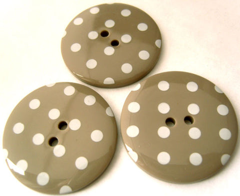 B3197 34mm Beige Grey Glossy Polka Dot 2 Hole Button - Ribbonmoon