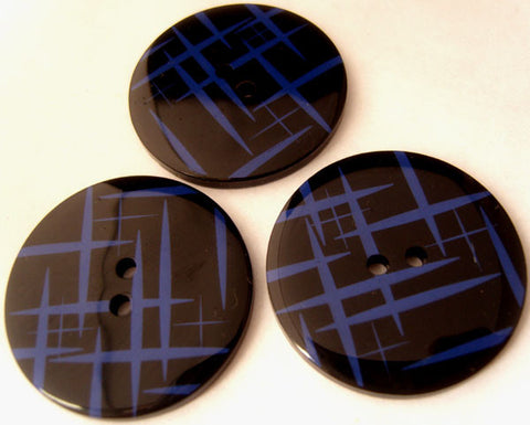 B3202 34mm Black and Lupin Blue High Gloss 2 Hole Button - Ribbonmoon
