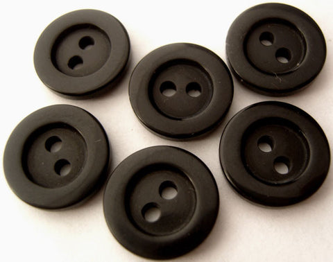 B4059 15mm Black High Gloss 2 Hole Button - Ribbonmoon