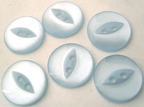 B4082 14mm Pale Baby Blue 2 Hole Polyester Fish Eye Button - Ribbonmoon