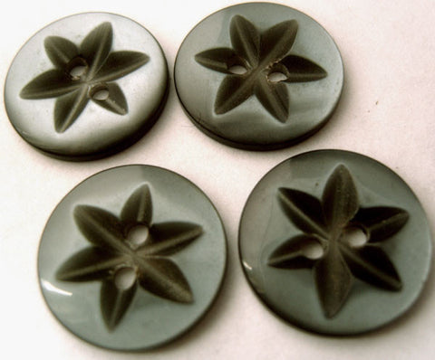 B4210 18mm Grey Polyester Star 2 Hole Button - Ribbonmoon