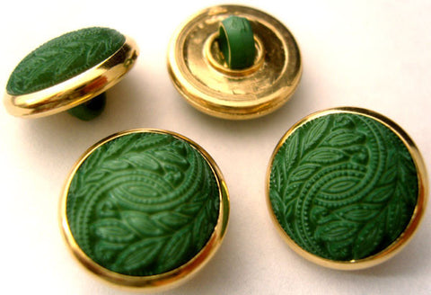 B4249 18mm Green Textured Shank Button, Gilded Gold Poly Rim - Ribbonmoon