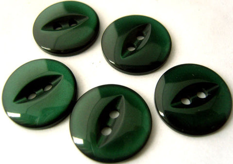 B16985 16mm Forest Green Polyester Fish Eye 2 Hole Button - Ribbonmoon