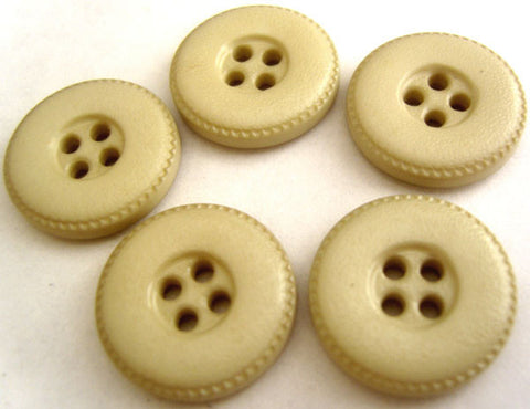 B4334 20mm Pale Beige Leather Effect 4 Hole Button - Ribbonmoon