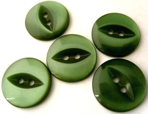 B17001 16mm Leaf Green 2 Hole Polyester Fish Eye Button - Ribbonmoon