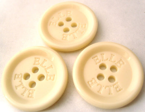 B4589 27mm Pale Bone Cream High Gloss 4 Hole Button. ELLE Lettering - Ribbonmoon