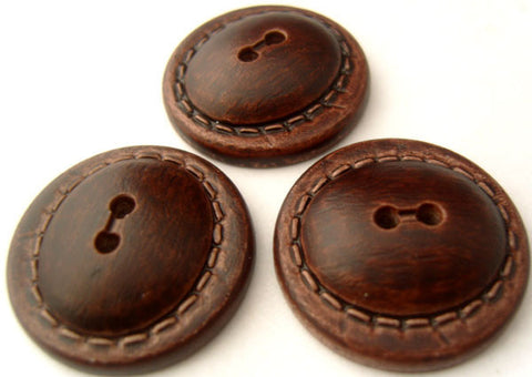 B4656 28mm Rosewood Leather Effect Domed 2 Hole Button - Ribbonmoon