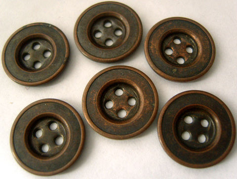 B4705 15mm Antique Copper Metal Alloy 4 Hole Button - Ribbonmoon