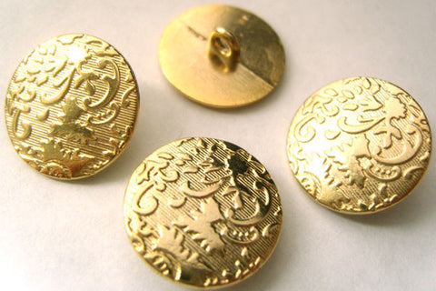 B4794 20mm Pale Gold Metal Alloy Textured Shank Button - Ribbonmoon