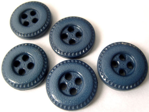 B4821 15mm Deep Dusky Blue Leather Effect 4 Hole Button - Ribbonmoon